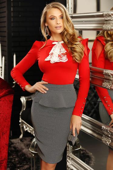Piros elegáns szűk szabású női blúz rugalmas pamutból masni díszítéssel