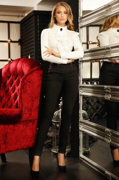 Fekete irodai kónikus nadrág enyhén elasztikus pamutból