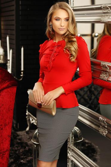 Piros irodai szűk szabású női ing masni csipke és gyöngy díszítéssel