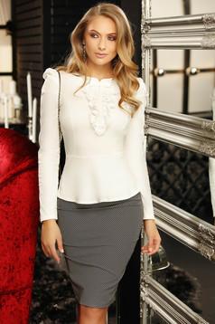 Fehér irodai szűk szabású női ing masni csipke és gyöngy díszítéssel