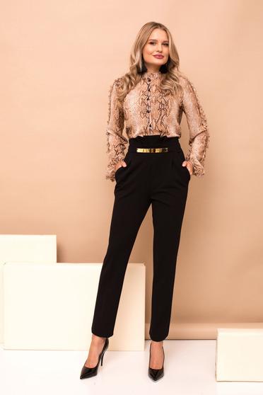 Fekete magas derekú hosszú egyenes nadrág zsebekkel