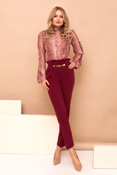 Burgundy magas derekú hosszú egyenes nadrág zsebekkel