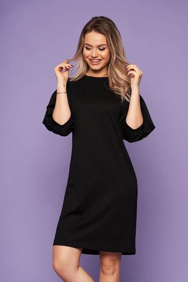 Fekete StarShinerS casual hétköznapi ruha bő háromnegyedes ujjakkal pólónyakkal
