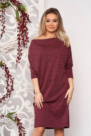StarShinerS burgundy bő szabású ruha kötött anyagból csillogó szál