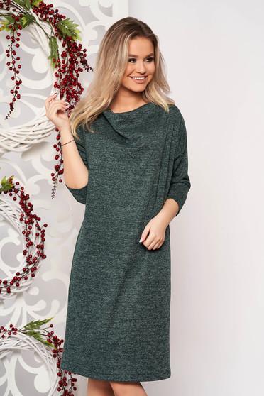 StarShinerS zöld bő szabású ruha kötött anyagból