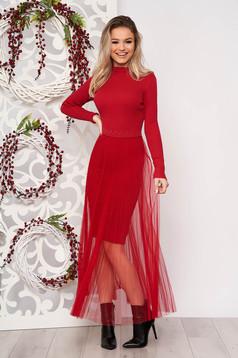 Piros elegáns rövid ceruza ruha kötött csíkozott anyag rakott, pliszírozott muszlin anyagátfedéssel
