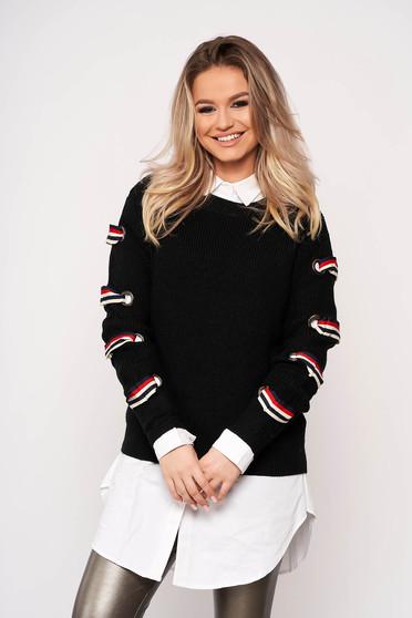 Fekete casual bő szabású rövid pulóver kötött anyagból hosszú ujjakkal pólónyakkal