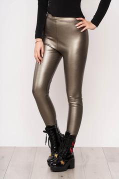 Aranyszínű műbőr party leggings rugalmas anyagból elasztikus csípővel fényes anyag