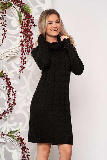 Fekete hétköznapi midi magas nyakú ruha kötött anyagból hosszú ujjakkal bélés nélkül