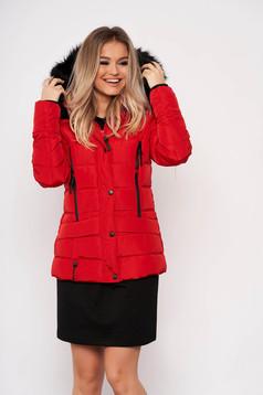 Piros casual rövid zsebes szőrmés eltávolítható kapucnis vízhatlan dzseki