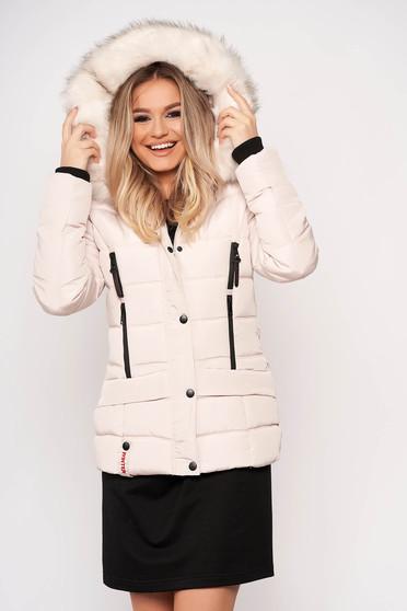 Krémszínű casual rövid zsebes szőrmés eltávolítható kapucnis vízhatlan dzseki