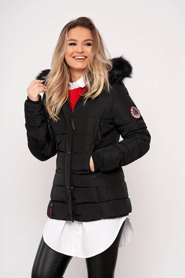 Fekete casual rövid zsebes szőrmés eltávolítható kapucnis vízhatlan dzseki