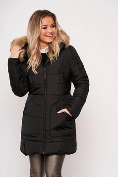 Fekete casual midi vízhatlan zsebes szőrmés kapucnis dzseki eltávolítható kapucnival és hosszú ujjakkal