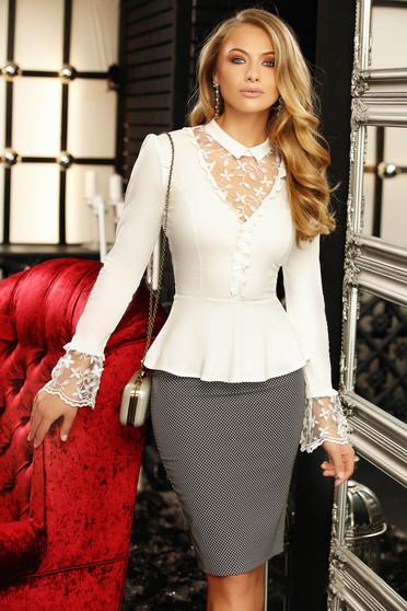 Fehér elegáns rövid női ing hosszú ujjakkal