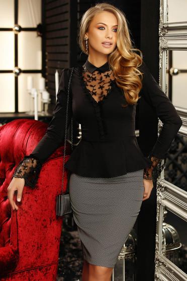 Fekete elegáns rövid női ing hosszú ujjakkal