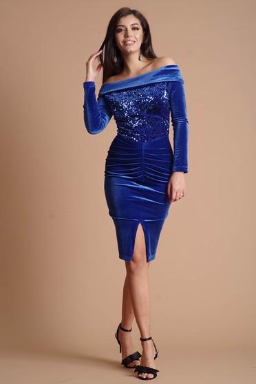 Kék ruha alkalmi midi ceruza bársonyból flitteres díszítéssel hosszú ujjakkal bélés nélkül