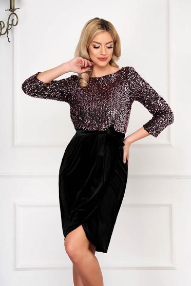 StarShinerS pink alkalmi egyenes flitteres rövid ruha bársonyból övvel
