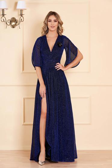 Kék hosszú alkalmi harang ruha fémes jellegű fényes anyagból béléssel v-dekoltázzsal