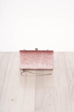 Pink alkalmi szatén jellegű szintetikus fordított bőr felsőrész táska hosszú, lánc jellegű akasztóval