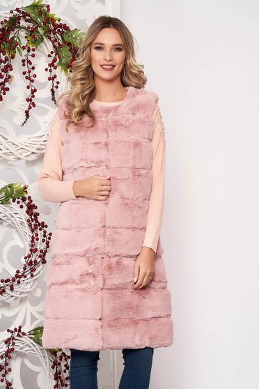 Púder rózsaszínű elegáns ujjatlan műszőrme zsebes mellény béléssel