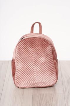 Pink bársony hátizsák cipzárral, hosszú, állítható pánttal rövid fülekkel