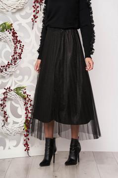 Fekete midi harang szoknya tűl kiegészítővel és csillogó szálakkal
