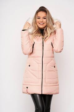 Púder rózsaszínű casual midi vízhatlan zsebes szőrmés kapucnis dzseki eltávolítható kapucnival és hosszú ujjakkal