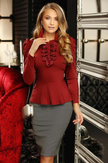Burgundy irodai szűk szabású női ing masni csipke és gyöngy díszítéssel