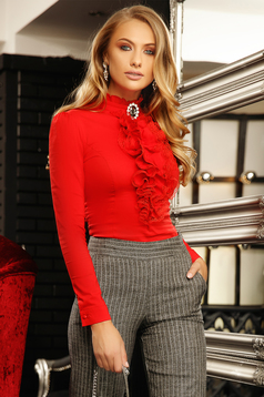 Piros elegáns szűk szabású rövid pamutból készült fodros női ing bross kiegészítővel magas gallérral
