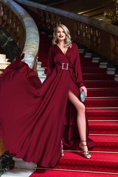 Burgundy hosszú alkalmi lábon sliccelt harang ruha v-dekoltázzsal csattal