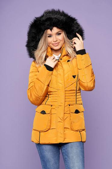Mustársárga rövid casual vízhatlan szőrmés kapucnis zsebes dzseki