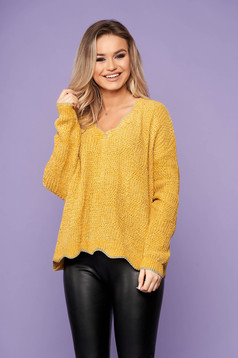 Mustársárga casual rövid kötött bő szabású pulóver v-dekoltázzsal