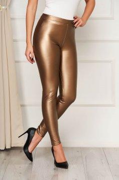 Barna műbőr party leggings rugalmas anyagból és elasztikus magas derékkal