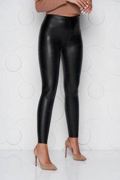 Fekete műbőr party leggings rugalmas anyagból és elasztikus magas derékkal