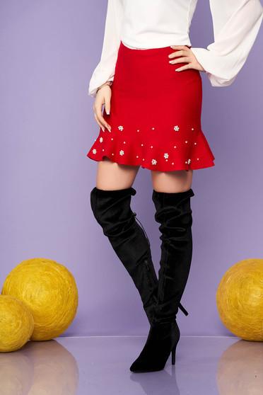 Piros elegáns rövid kötött fodros harang szoknya gyöngy díszítéssel