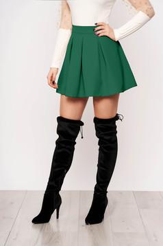 Zöld casual harang szoknya enyhén rugalmas anyagból