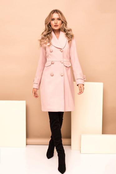 Púder rózsaszínű casual egyenes nagykabát béléssel szövettel