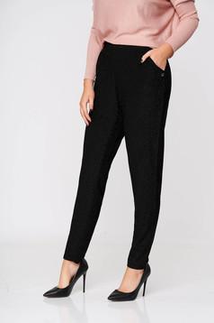 Fekete casual kónikus hosszú nadrág zsebekkel