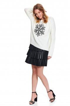 Fehér casual bő szabású pulóver flitteres díszítéssel kötött anyagból
