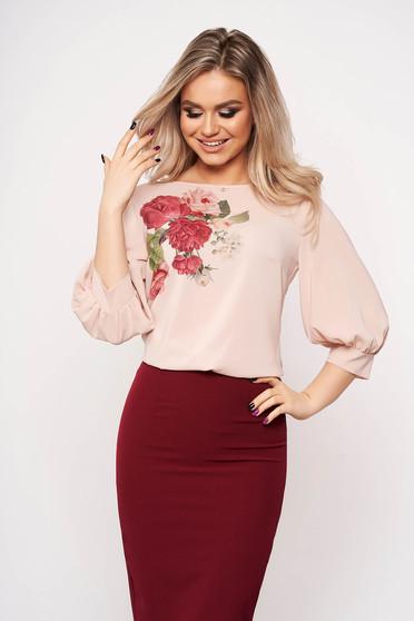 Púder rózsaszínű casual elegáns virágmintás StarShinerS női blúz muszlin háromnegyedes ujjakkal