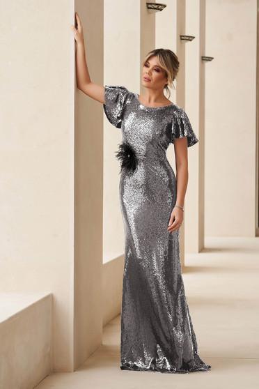 Ezüstszínű StarShinerS alkalmi flitteres rövid ujjú szűk szabású hosszú sellő ruha