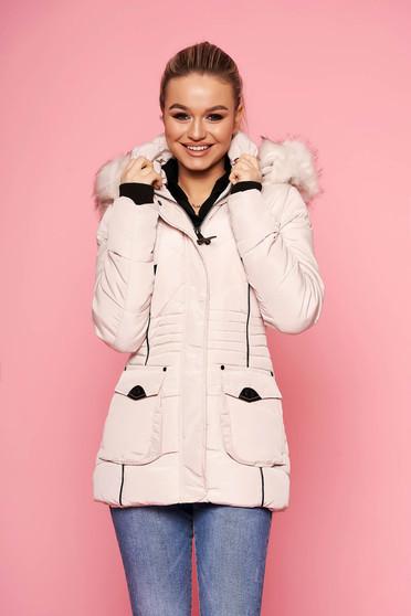 Krémszínű rövid casual vízhatlan szőrmés kapucnis zsebes dzseki