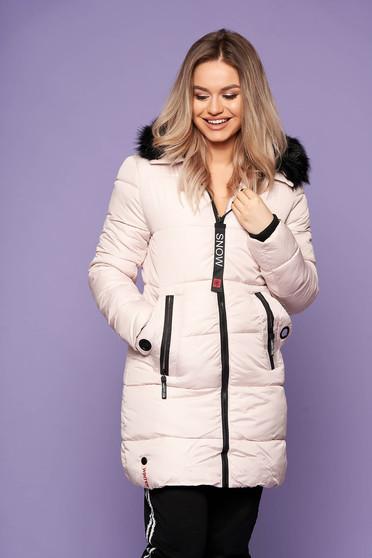 Krémszínű dzseki casual midi zsebes hosszú ujjakkal fix kapucnis szőrmés kapucnis