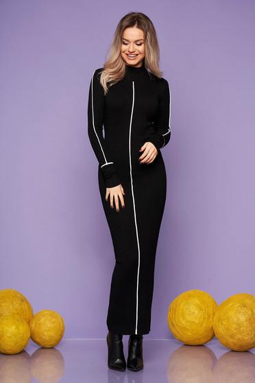 Fekete casual hétköznapi karcsusított szabású magas nyakú hosszú ceruza ruha kötött