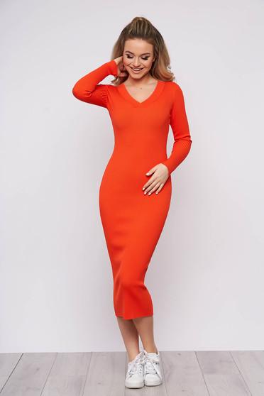 Narancssárga casual hétköznapi karcsusított szabású ruha kötött anyagból hosszú ujjakkal v-dekoltázzsal