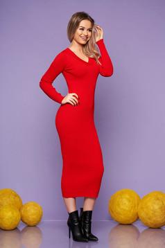 Piros casual hétköznapi karcsusított szabású ruha kötött anyagból hosszú ujjakkal v-dekoltázzsal