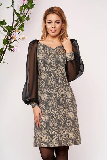 Fekete StarShinerS elegáns rövid bő szabású ruha bélés nélkül bő muszlin ujjakkal