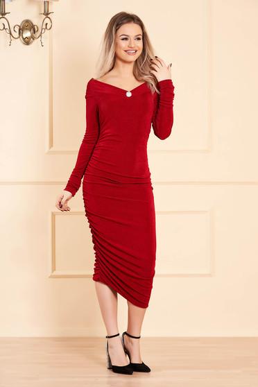 Piros alkalmi ceruza ruha hosszú ujjakkal