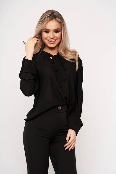 Fekete irodai női ing masni díszítéssel hosszú ujjakkal vékony anyagból