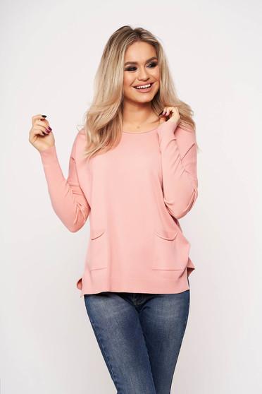 Pink casual zsebes női blúz kerekített gallérral vékony anyagból